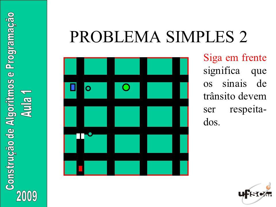 PROBLEMA SIMPLES 2 Siga em frente significa que os sinais de trânsito devem ser respeita-dos.