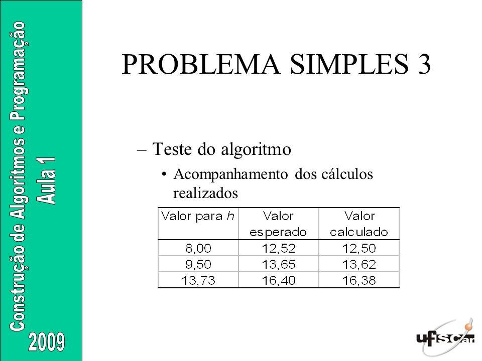 PROBLEMA SIMPLES 3 Teste do algoritmo