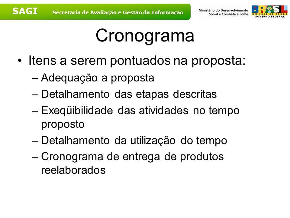 Cronograma Itens a serem pontuados na proposta: Adequação a proposta