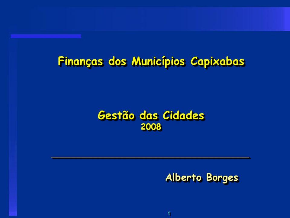 Finanças dos Municípios Capixabas Gestão das Cidades 2008