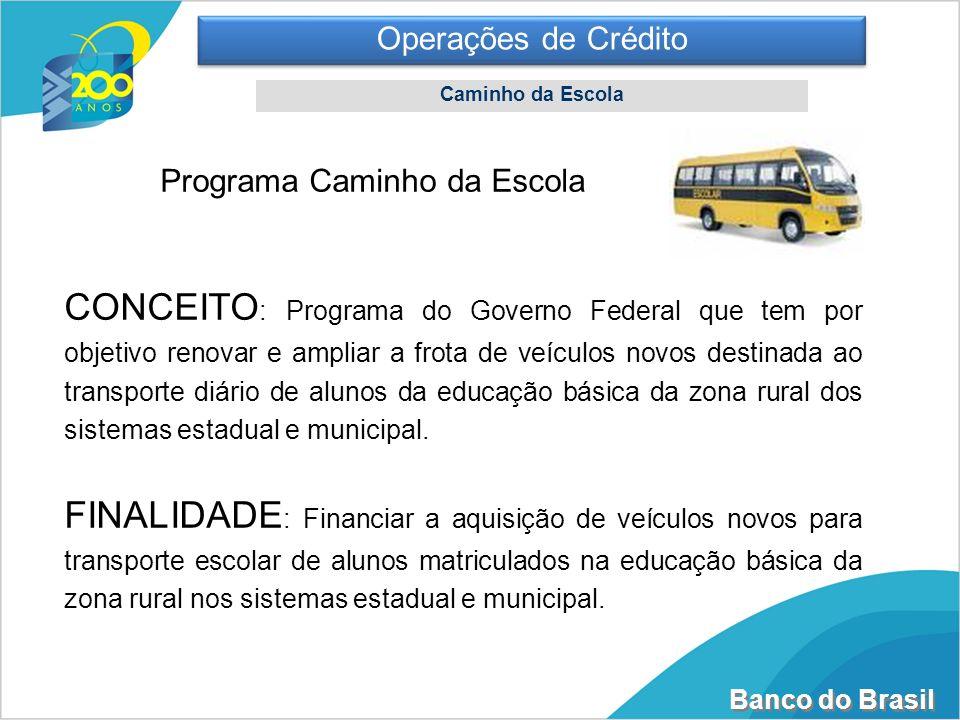 Operações de CréditoCaminho da Escola. Programa Caminho da Escola.