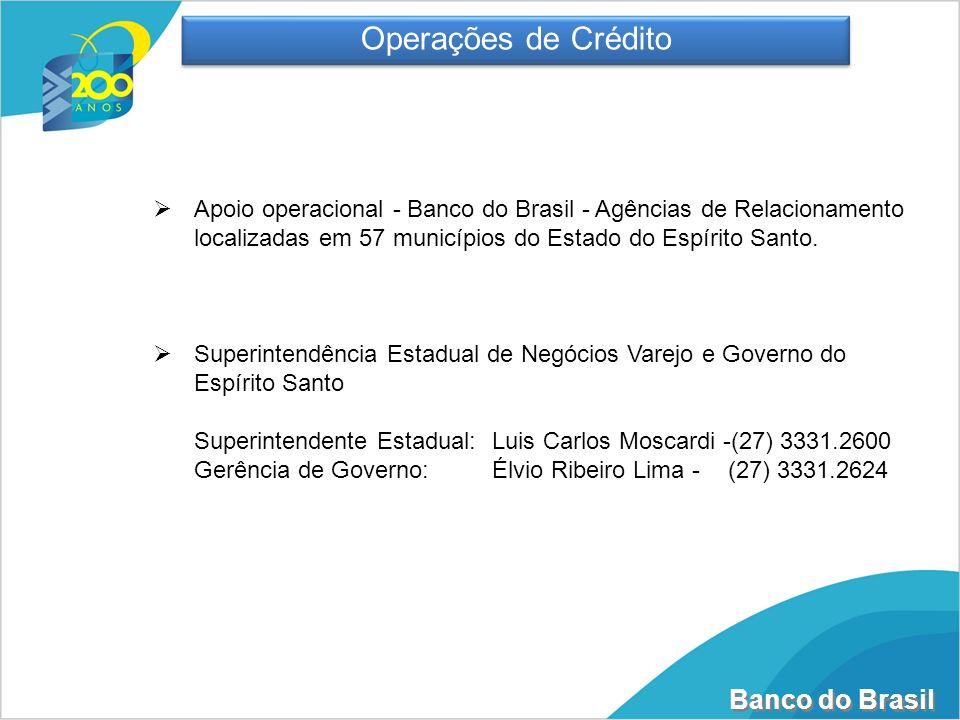 Operações de CréditoApoio operacional - Banco do Brasil - Agências de Relacionamento localizadas em 57 municípios do Estado do Espírito Santo.