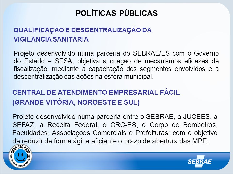 POLÍTICAS PÚBLICAS CENTRAL DE ATENDIMENTO EMPRESARIAL FÁCIL