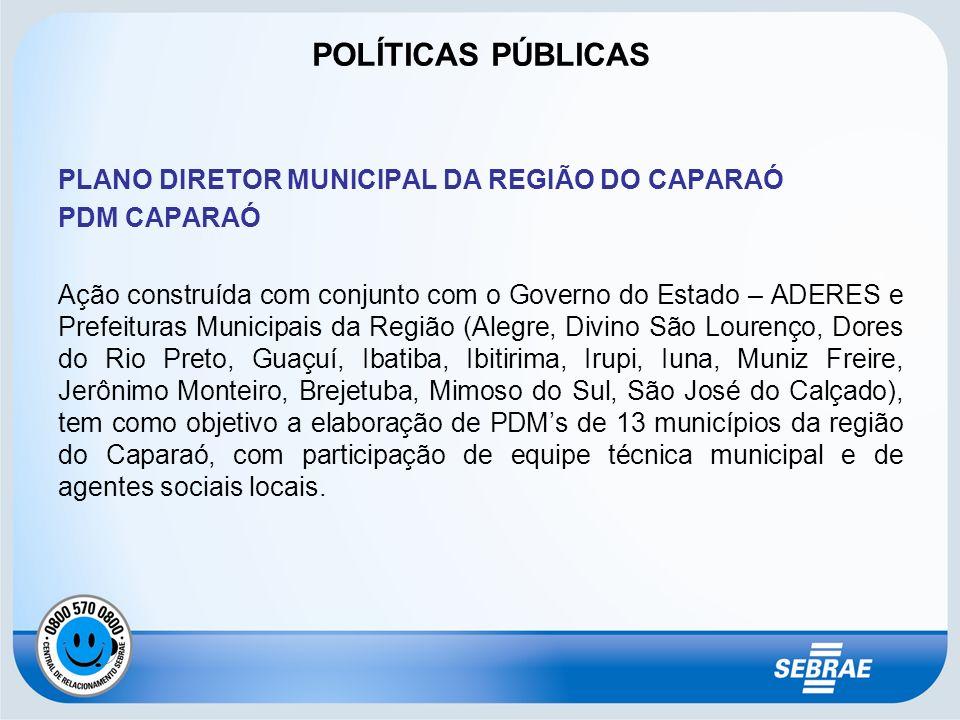 POLÍTICAS PÚBLICAS PLANO DIRETOR MUNICIPAL DA REGIÃO DO CAPARAÓ