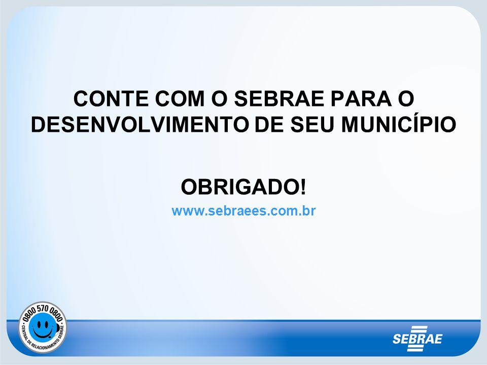 CONTE COM O SEBRAE PARA O DESENVOLVIMENTO DE SEU MUNICÍPIO