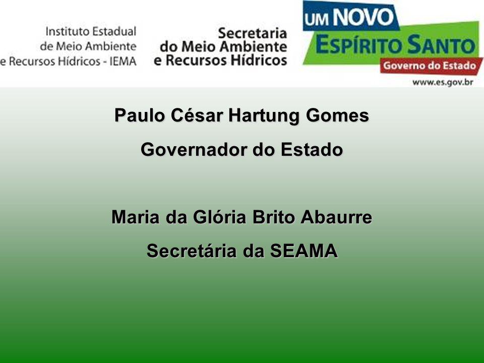 Paulo César Hartung Gomes Governador do Estado Maria da Glória Brito Abaurre Secretária da SEAMA