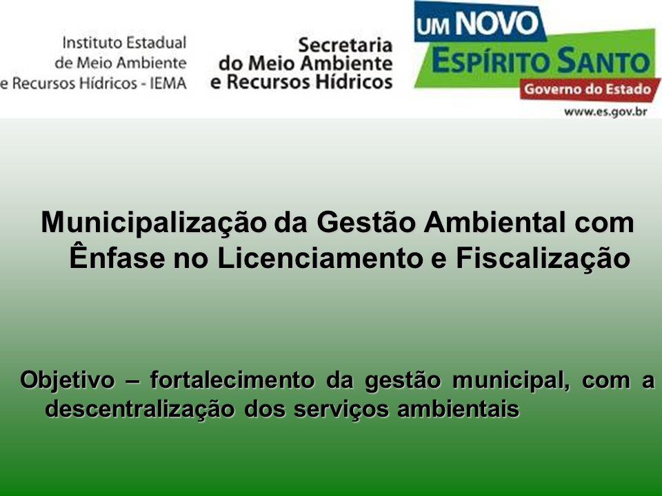 Municipalização da Gestão Ambiental com Ênfase no Licenciamento e Fiscalização