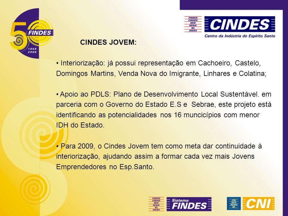 CINDES JOVEM: Interiorização: já possui representação em Cachoeiro, Castelo, Domingos Martins, Venda Nova do Imigrante, Linhares e Colatina;