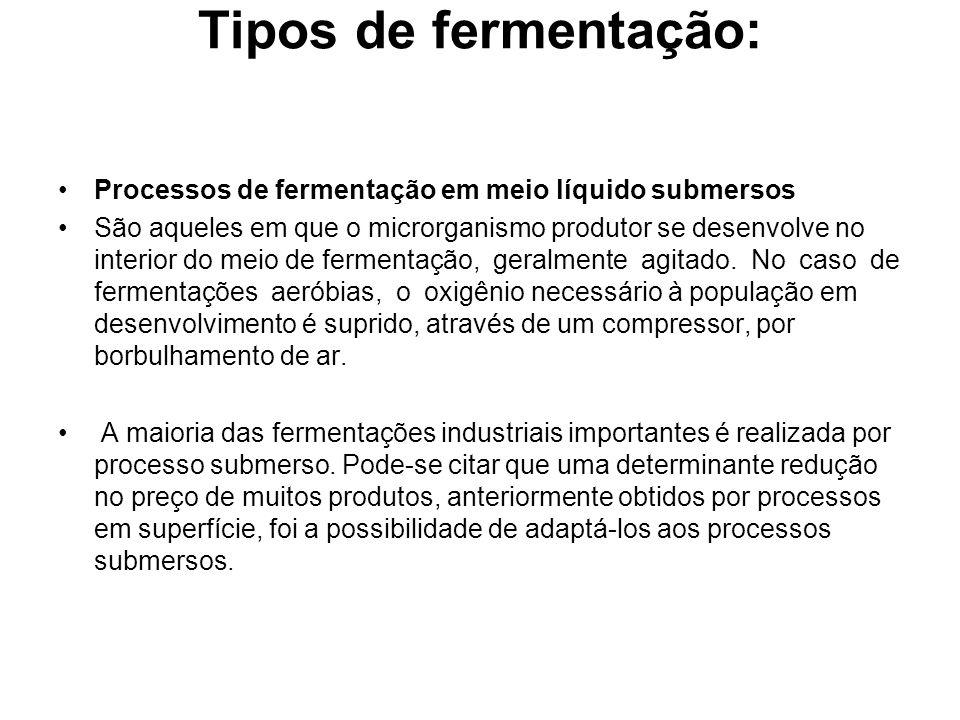 Tipos de fermentação: Processos de fermentação em meio líquido submersos.