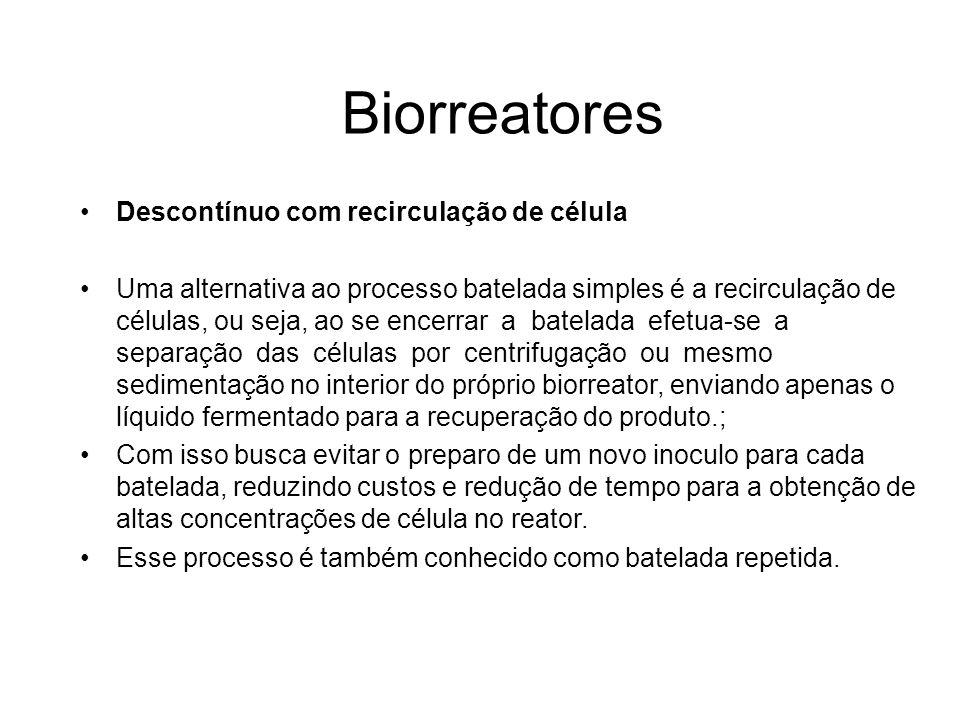 Biorreatores Descontínuo com recirculação de célula