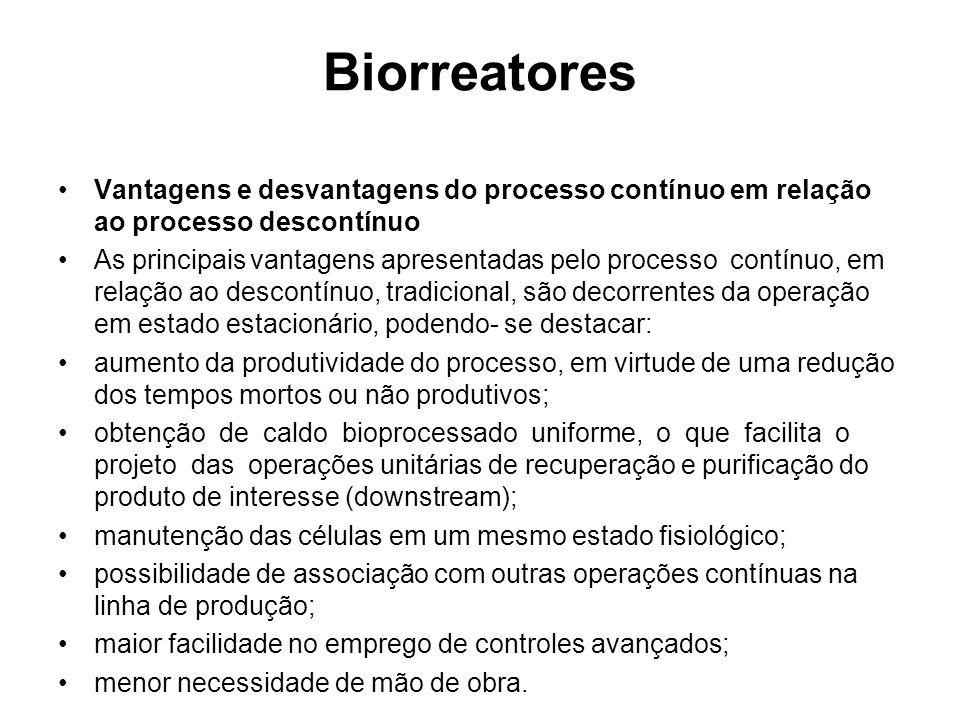 Biorreatores Vantagens e desvantagens do processo contínuo em relação ao processo descontínuo.