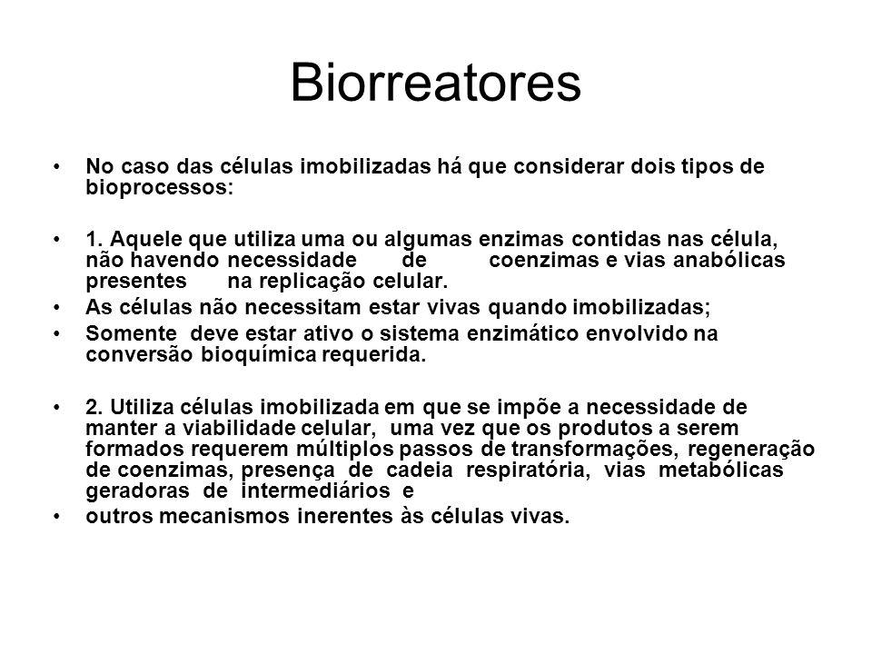 Biorreatores No caso das células imobilizadas há que considerar dois tipos de bioprocessos: