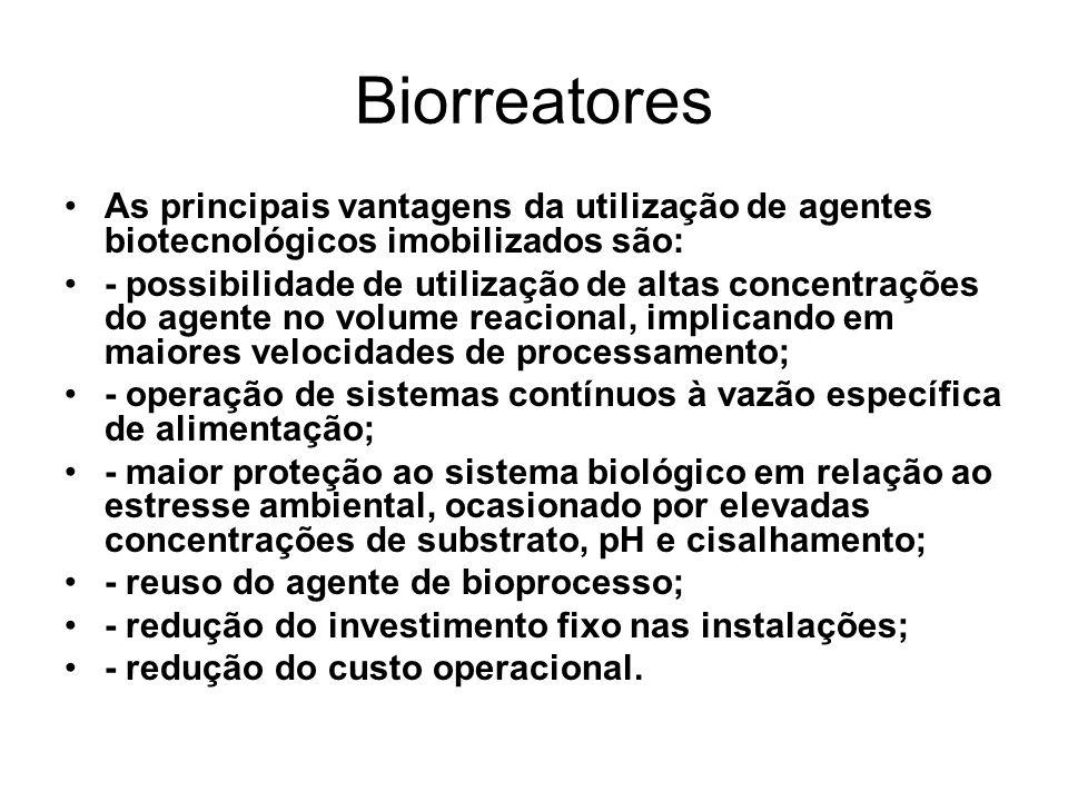 Biorreatores As principais vantagens da utilização de agentes biotecnológicos imobilizados são: