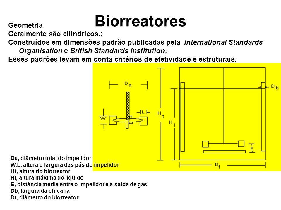 Biorreatores Geometria Geralmente são cilíndricos.;