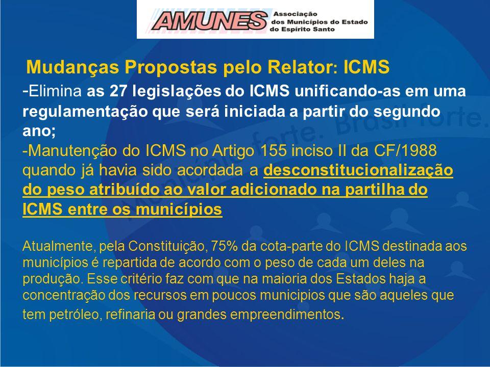 Mudanças Propostas pelo Relator: ICMS