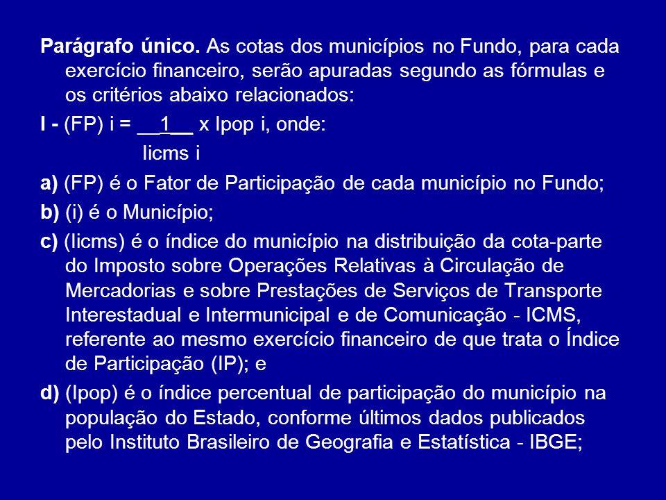 Parágrafo único. As cotas dos municípios no Fundo, para cada exercício financeiro, serão apuradas segundo as fórmulas e os critérios abaixo relacionados: