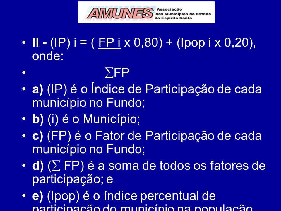 II - (IP) i = ( FP i x 0,80) + (Ipop i x 0,20), onde: