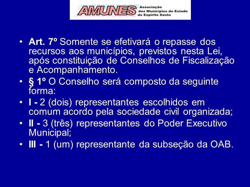 Art. 7º Somente se efetivará o repasse dos recursos aos municípios, previstos nesta Lei, após constituição de Conselhos de Fiscalização e Acompanhamento.