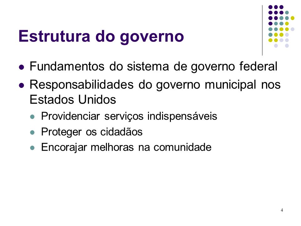 Estrutura do governo Fundamentos do sistema de governo federal