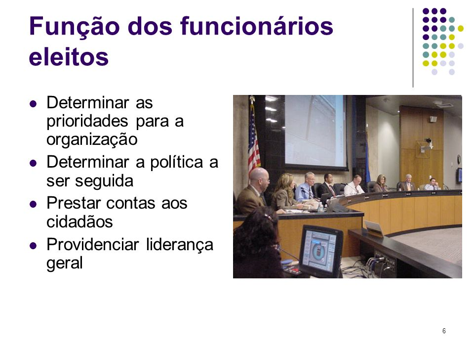 Função dos funcionários eleitos