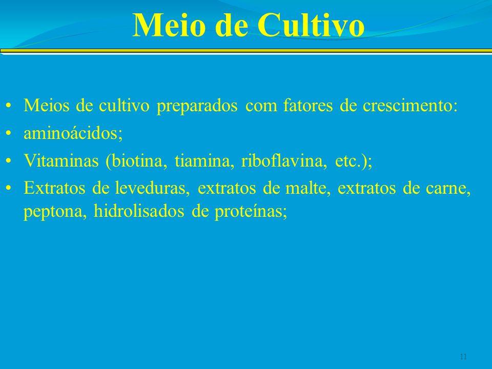 Meio de Cultivo Meios de cultivo preparados com fatores de crescimento: aminoácidos; Vitaminas (biotina, tiamina, riboflavina, etc.);