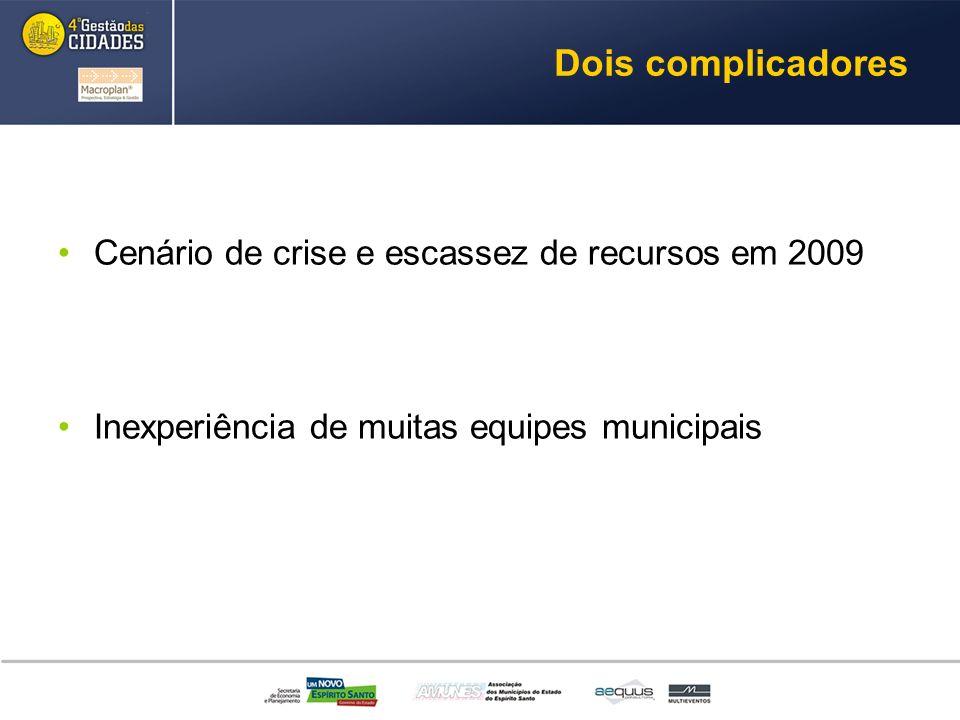 Dois complicadores Cenário de crise e escassez de recursos em 2009