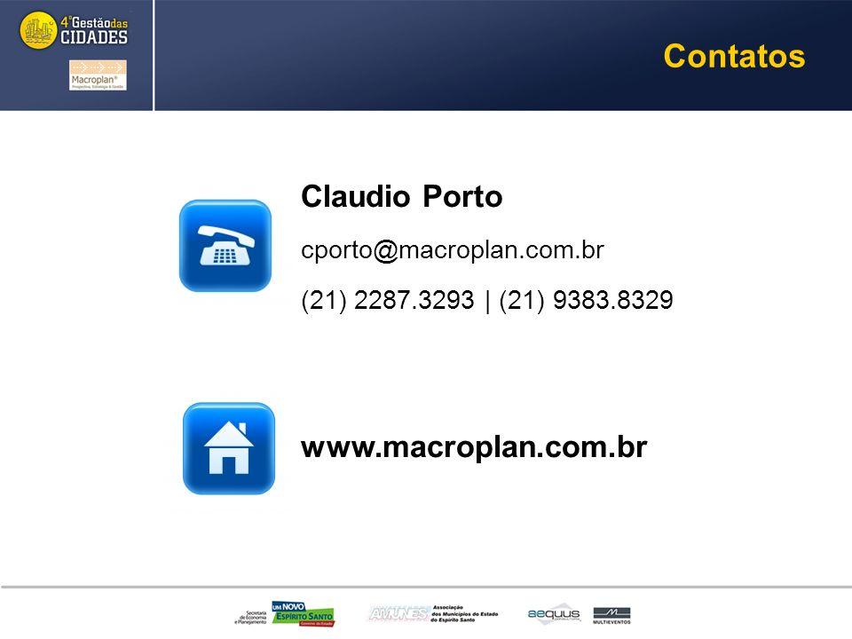 Contatos Claudio Porto www.macroplan.com.br cporto@macroplan.com.br