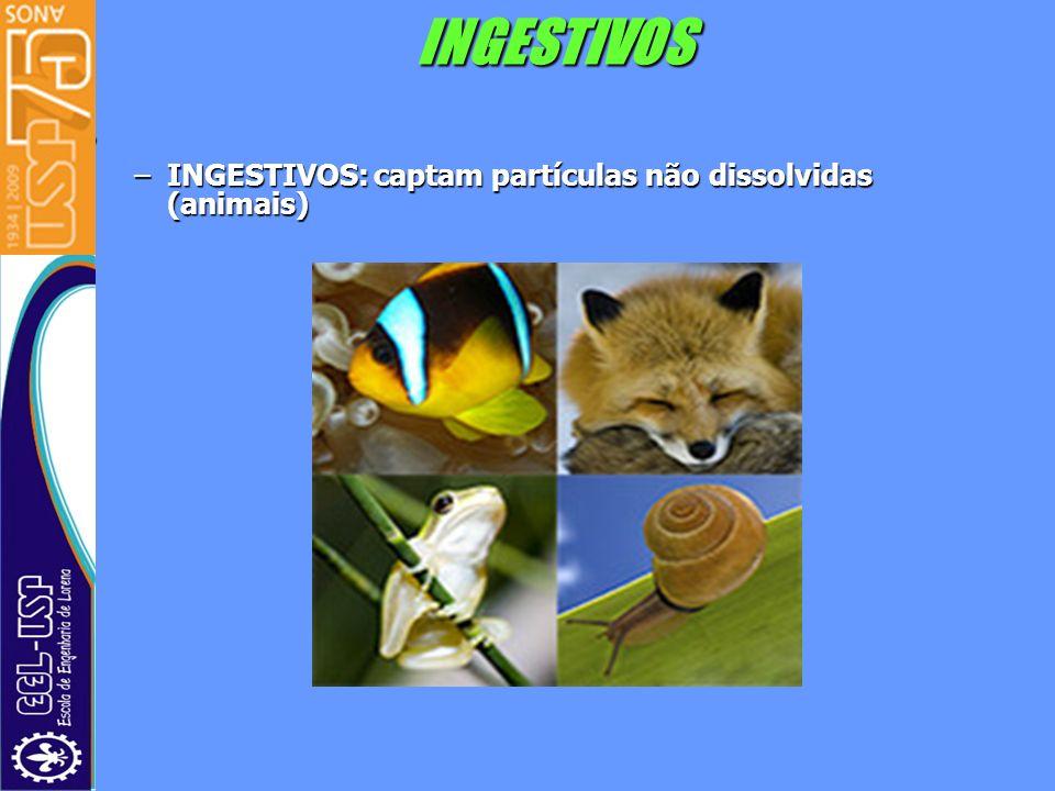 INGESTIVOS INGESTIVOS: captam partículas não dissolvidas (animais)
