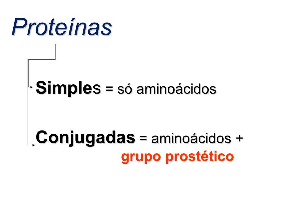 Proteínas Simples = só aminoácidos Conjugadas = aminoácidos +