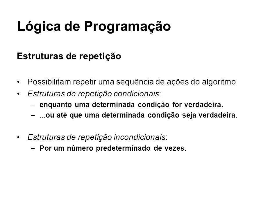 Lógica de Programação Estruturas de repetição