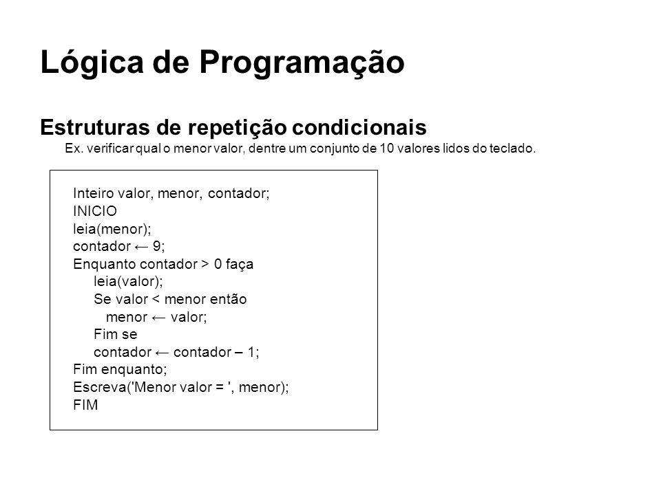 Lógica de Programação Estruturas de repetição condicionais