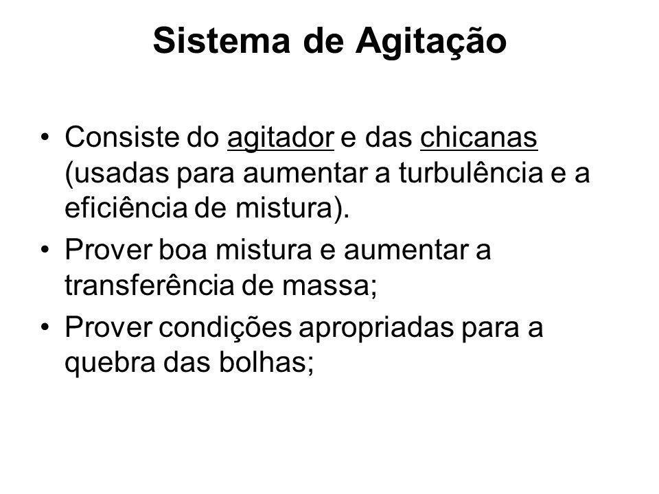 Sistema de Agitação Consiste do agitador e das chicanas (usadas para aumentar a turbulência e a eficiência de mistura).