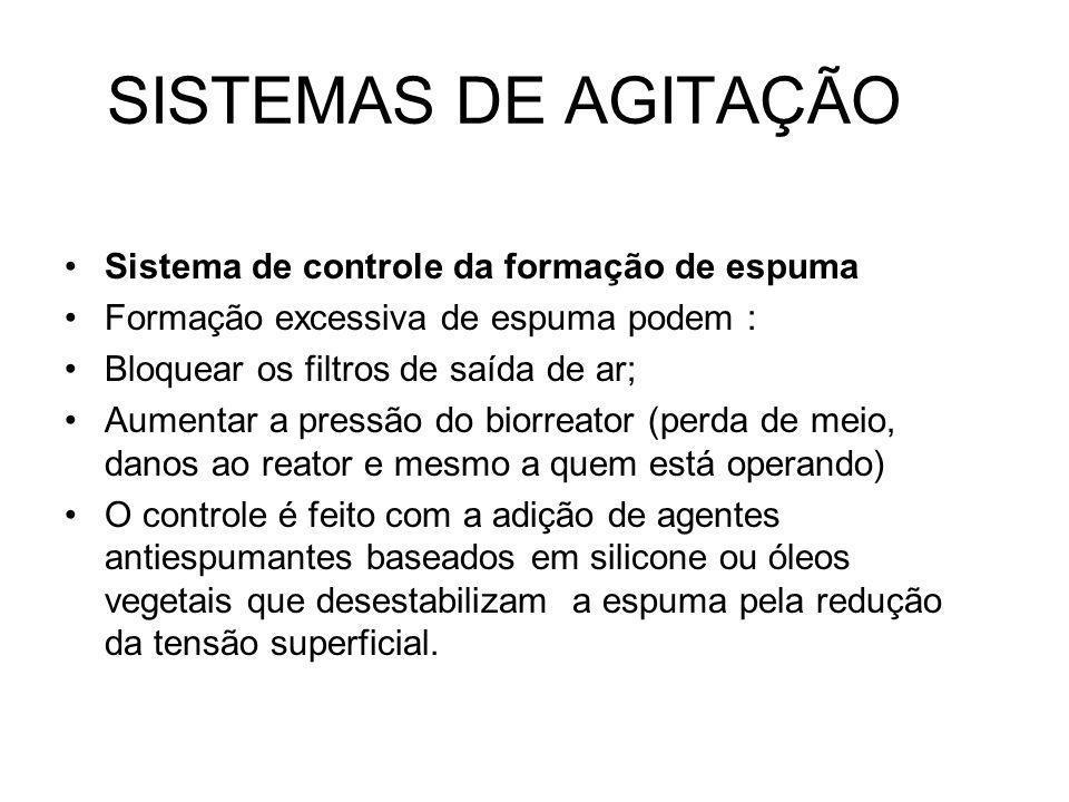 SISTEMAS DE AGITAÇÃO Sistema de controle da formação de espuma