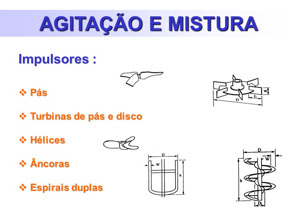 AGITAÇÃO E MISTURA Impulsores : Pás Turbinas de pás e disco Hélices