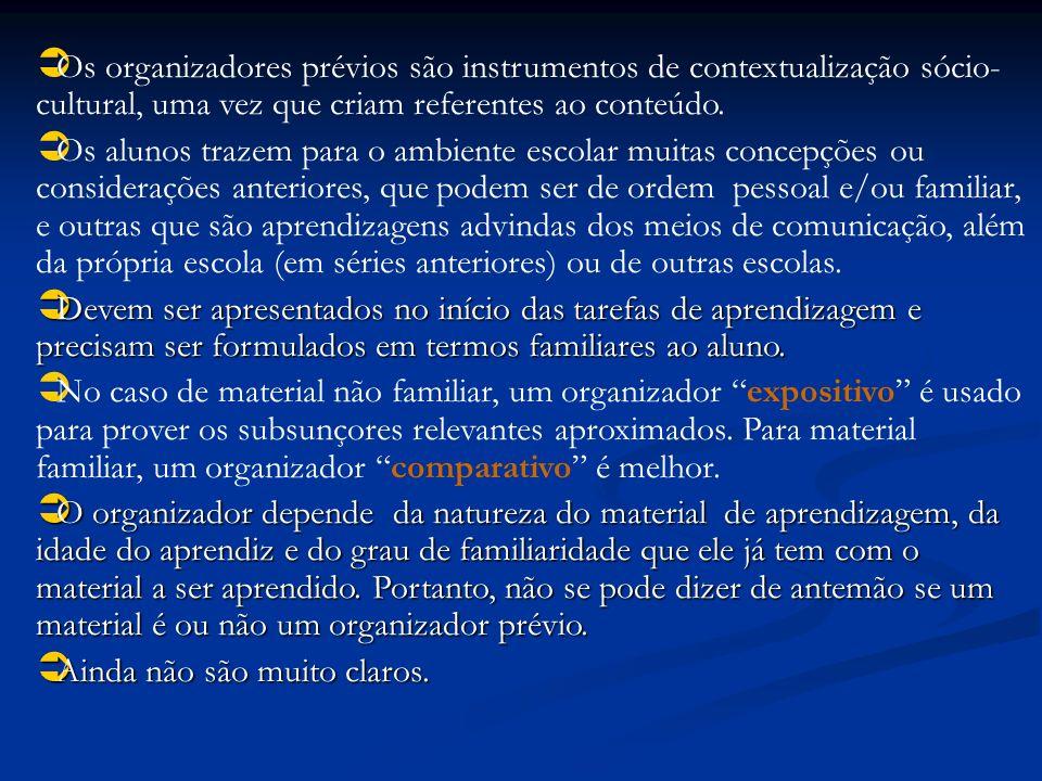Os organizadores prévios são instrumentos de contextualização sócio-cultural, uma vez que criam referentes ao conteúdo.