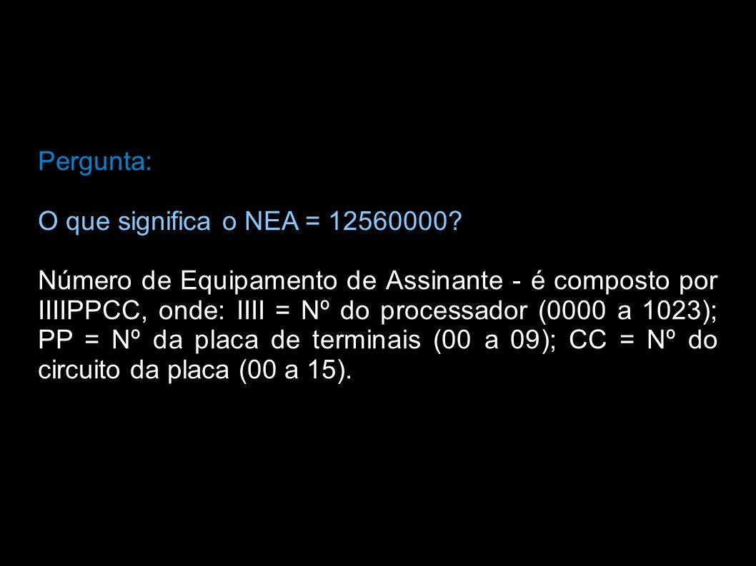 Pergunta: O que significa o NEA = 12560000
