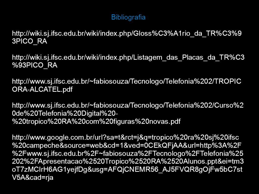 Bibliografia http://wiki.sj.ifsc.edu.br/wiki/index.php/Gloss%C3%A1rio_da_TR%C3%93PICO_RA.