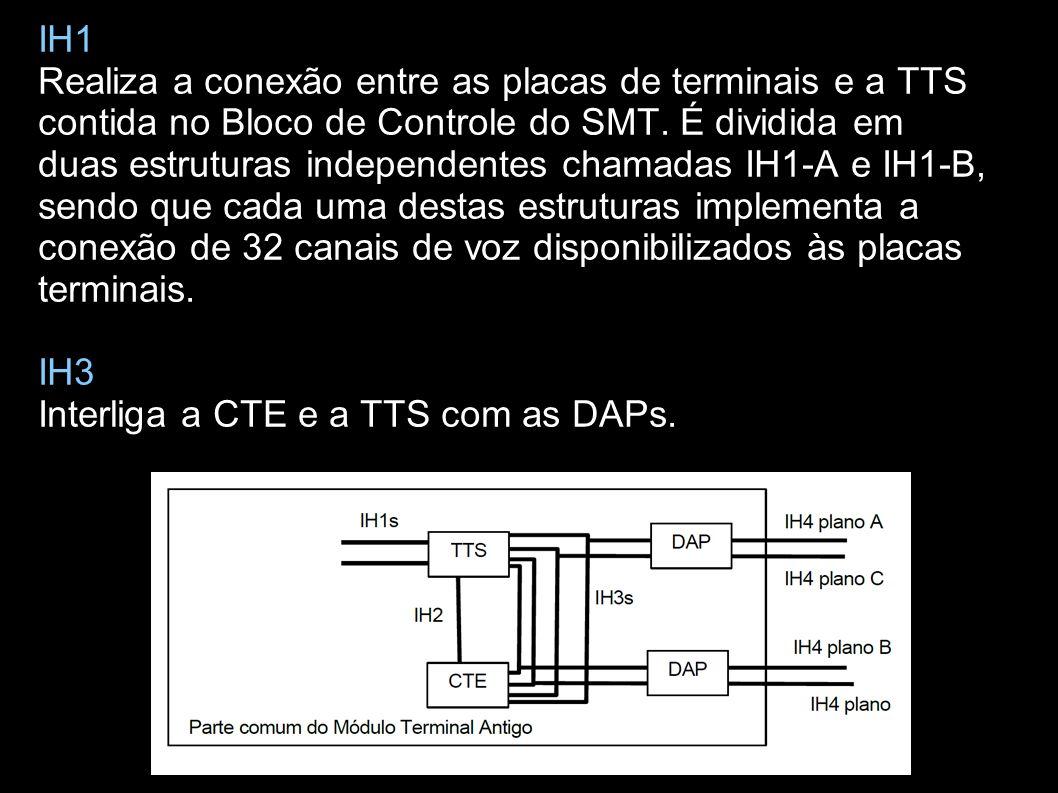 IH1 Realiza a conexão entre as placas de terminais e a TTS contida no Bloco de Controle do SMT.