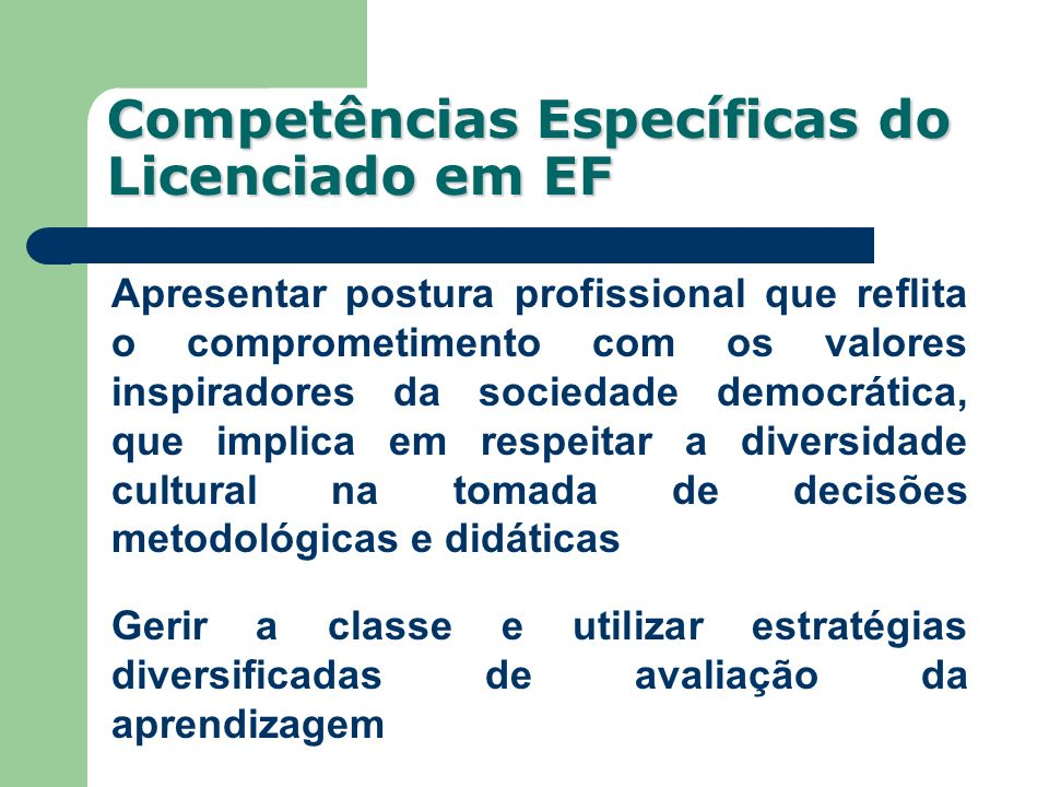 Competências Específicas do Licenciado em EF