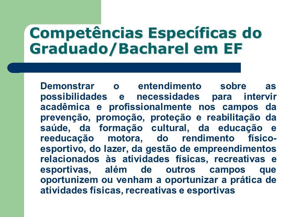 Competências Específicas do Graduado/Bacharel em EF