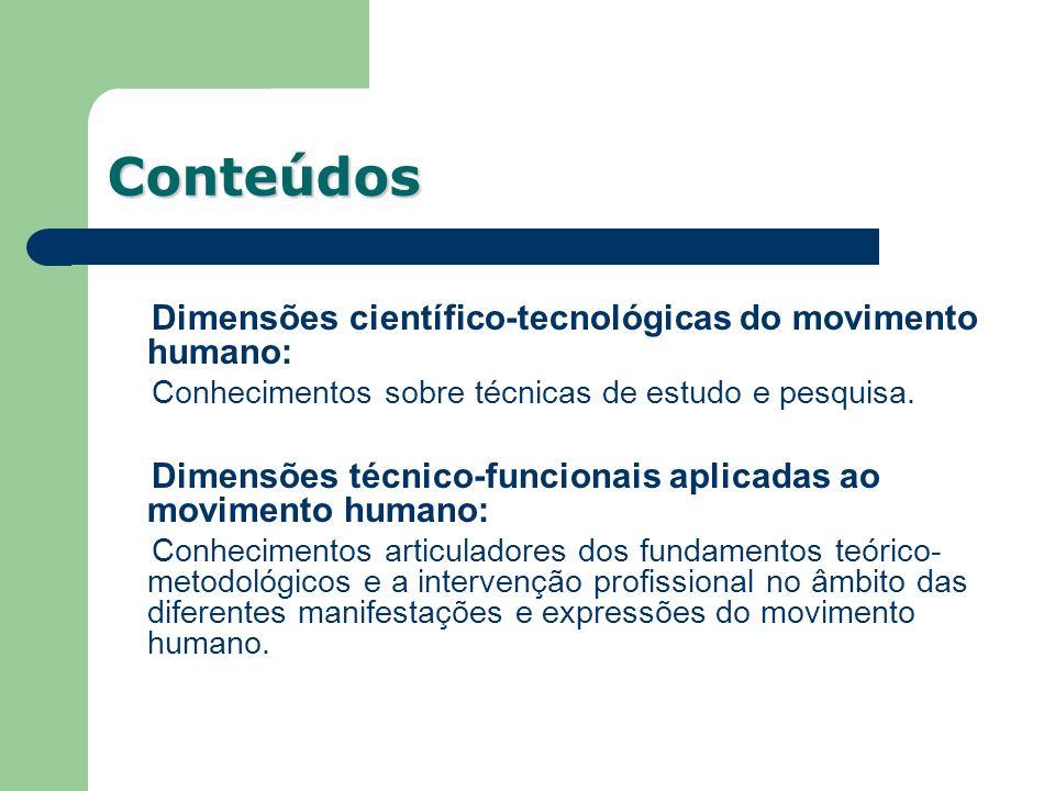 Conteúdos Dimensões científico-tecnológicas do movimento humano: