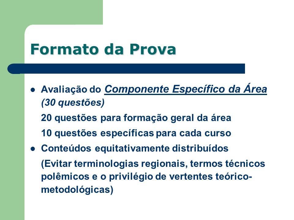 Formato da Prova Avaliação do Componente Específico da Área (30 questões) 20 questões para formação geral da área.