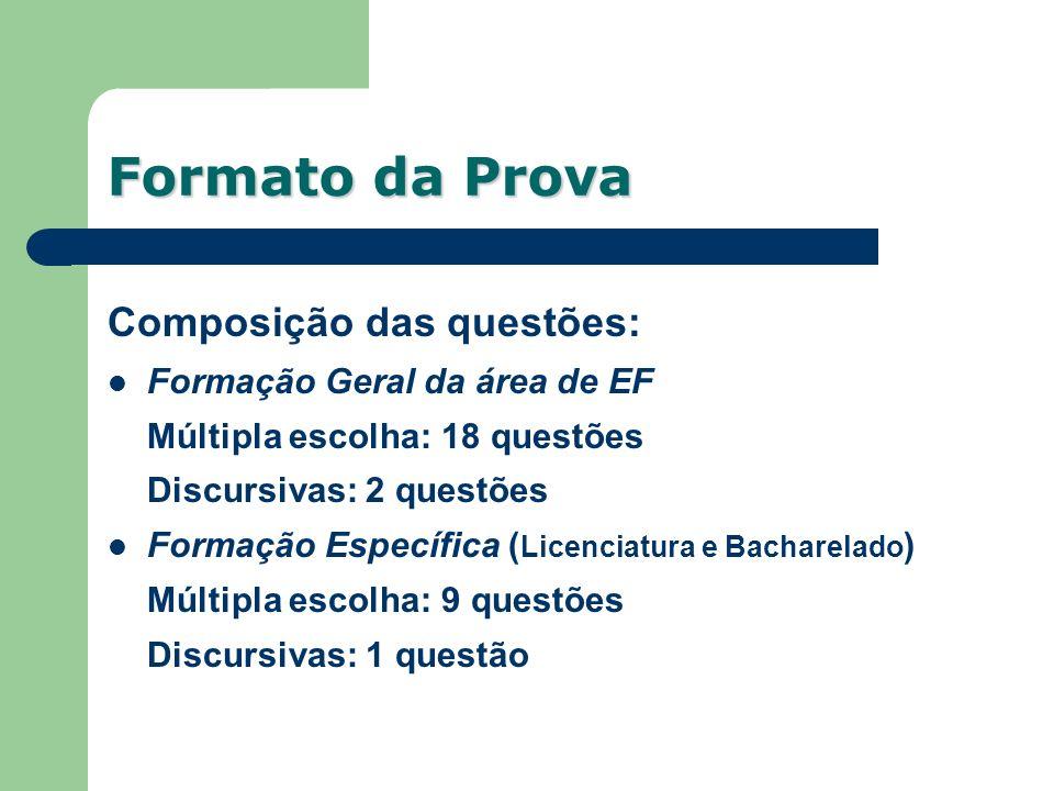 Formato da Prova Composição das questões: Formação Geral da área de EF