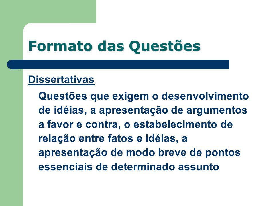 Formato das Questões Dissertativas