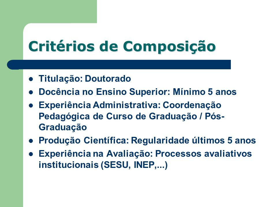 Critérios de Composição
