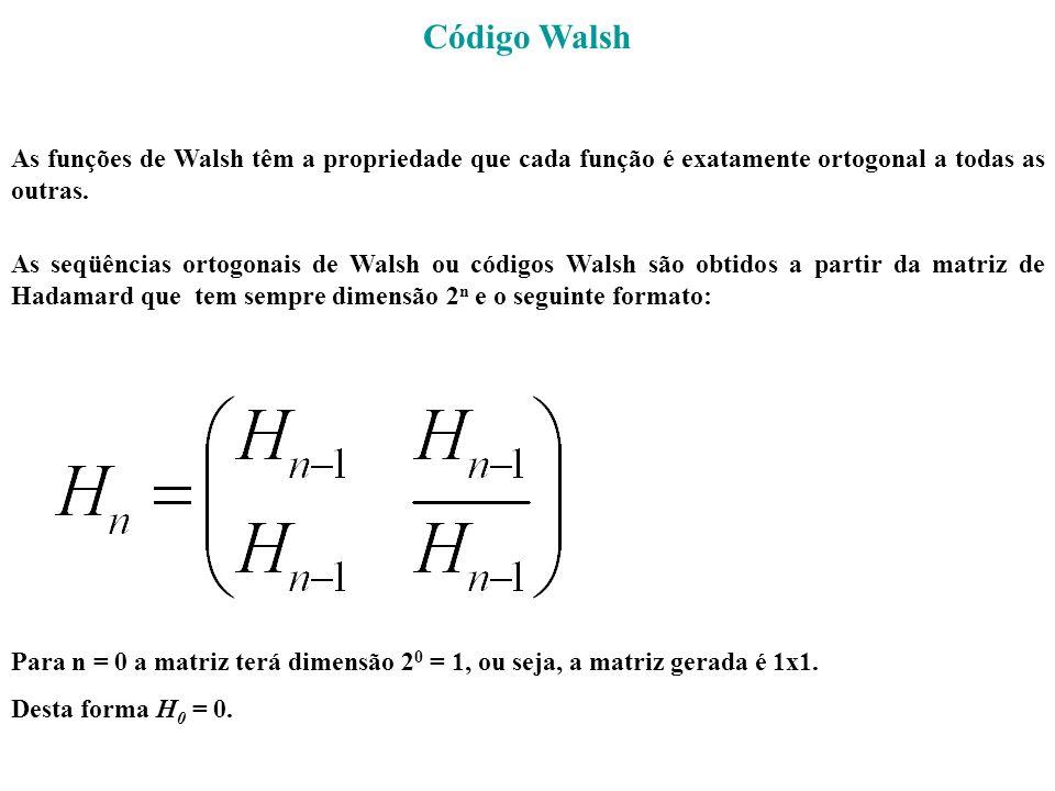 Código Walsh As funções de Walsh têm a propriedade que cada função é exatamente ortogonal a todas as outras.