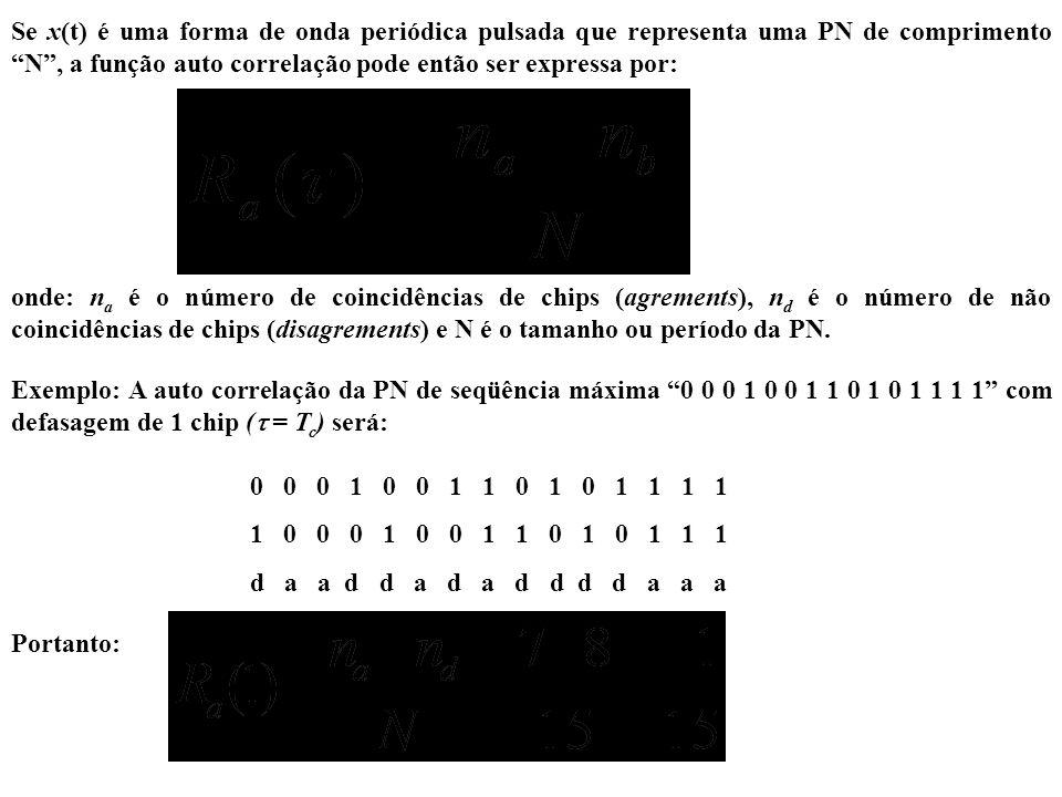 Se x(t) é uma forma de onda periódica pulsada que representa uma PN de comprimento N , a função auto correlação pode então ser expressa por: