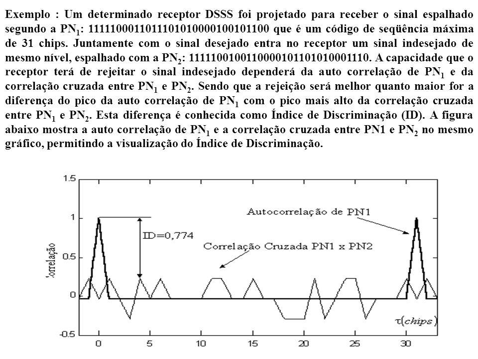 Exemplo : Um determinado receptor DSSS foi projetado para receber o sinal espalhado segundo a PN1: 1111100011011101010000100101100 que é um código de seqüência máxima de 31 chips.