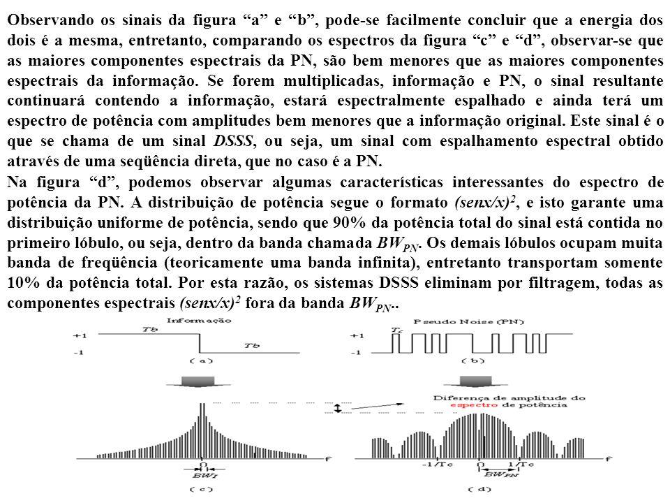 Observando os sinais da figura a e b , pode-se facilmente concluir que a energia dos dois é a mesma, entretanto, comparando os espectros da figura c e d , observar-se que as maiores componentes espectrais da PN, são bem menores que as maiores componentes espectrais da informação. Se forem multiplicadas, informação e PN, o sinal resultante continuará contendo a informação, estará espectralmente espalhado e ainda terá um espectro de potência com amplitudes bem menores que a informação original. Este sinal é o que se chama de um sinal DSSS, ou seja, um sinal com espalhamento espectral obtido através de uma seqüência direta, que no caso é a PN.