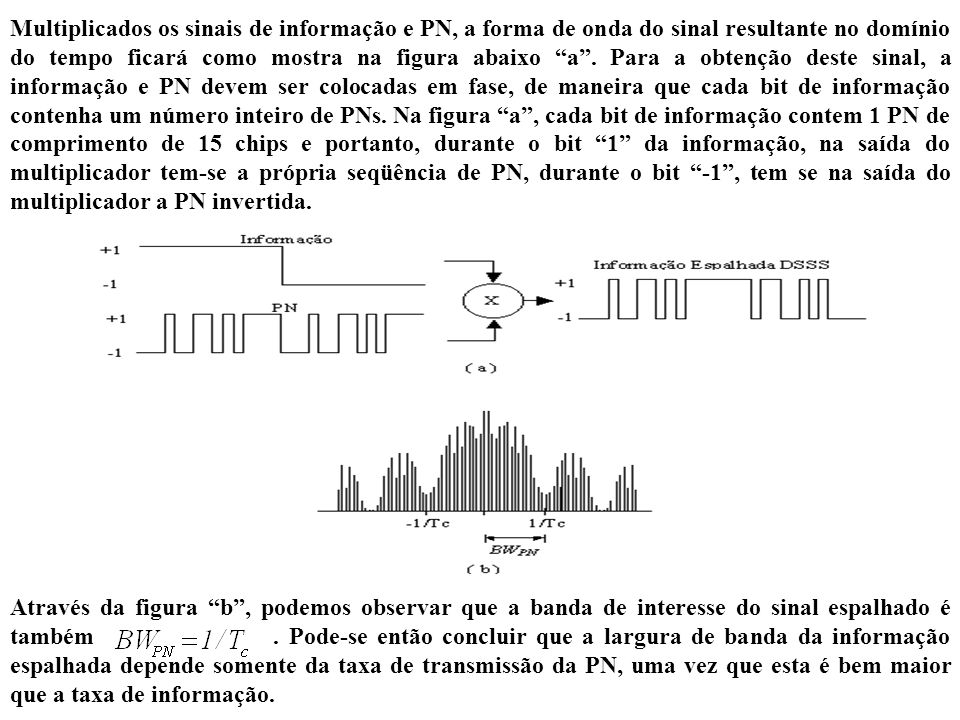 Multiplicados os sinais de informação e PN, a forma de onda do sinal resultante no domínio do tempo ficará como mostra na figura abaixo a . Para a obtenção deste sinal, a informação e PN devem ser colocadas em fase, de maneira que cada bit de informação contenha um número inteiro de PNs. Na figura a , cada bit de informação contem 1 PN de comprimento de 15 chips e portanto, durante o bit 1 da informação, na saída do multiplicador tem-se a própria seqüência de PN, durante o bit -1 , tem se na saída do multiplicador a PN invertida.